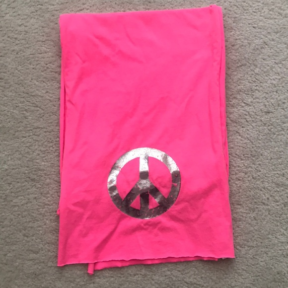 Justice Other - Justice Hot Pink Silver Peace Sign Scarf